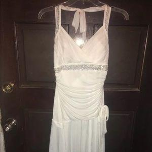 White formal dress, Medium, M, shark hem